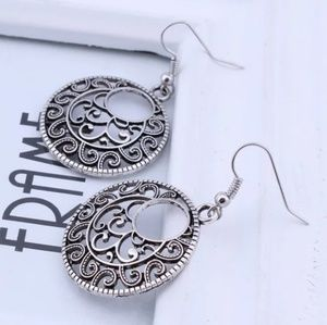 boho silver fashion costume earrings